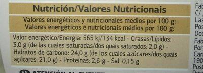 Natillas con galleta - Informació nutricional - es