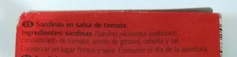 Petingas em tomate - Ingredientes - es