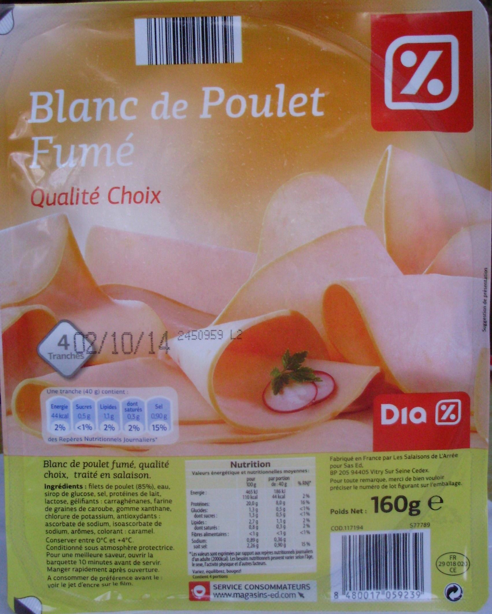 Blanc de Poulet Fumé (Qualité Choix) 4 Tranches - Product - fr