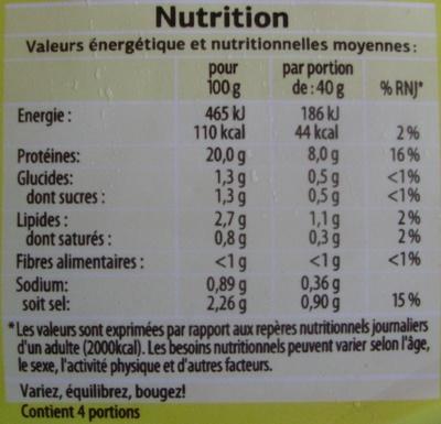 Blanc de Poulet Fumé (Qualité Choix) 4 Tranches - Nutrition facts