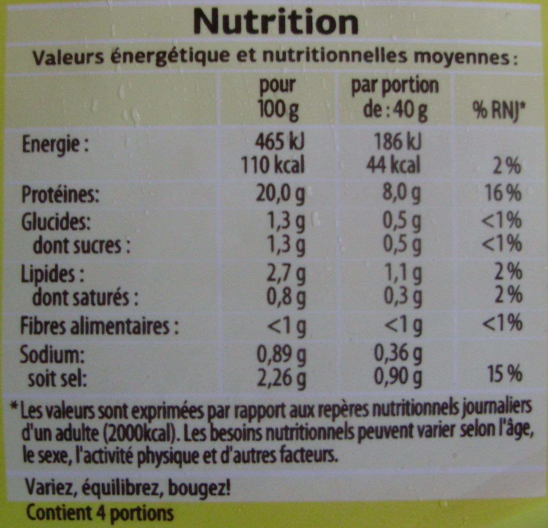 Blanc de Poulet Fumé (Qualité Choix) 4 Tranches - Nutrition facts - fr