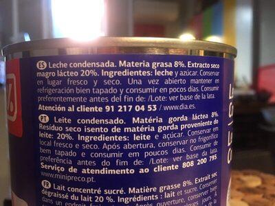 Leche condensada dia - Ingredients - fr
