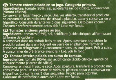Tomate pelado inteiro - Ingredients