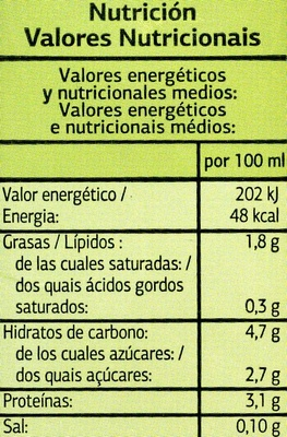 Bebida de soja - Pack de 3 - Información nutricional