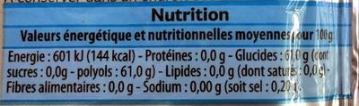 Chewing-gum menthe sans sucres - Voedingswaarden - fr