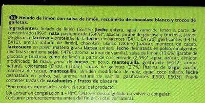 Chocolate blanco con galleta con helado de limón - Ingredientes