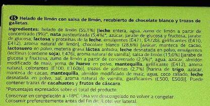 Chocolate blanco con galleta con helado de limón - Ingredientes - es