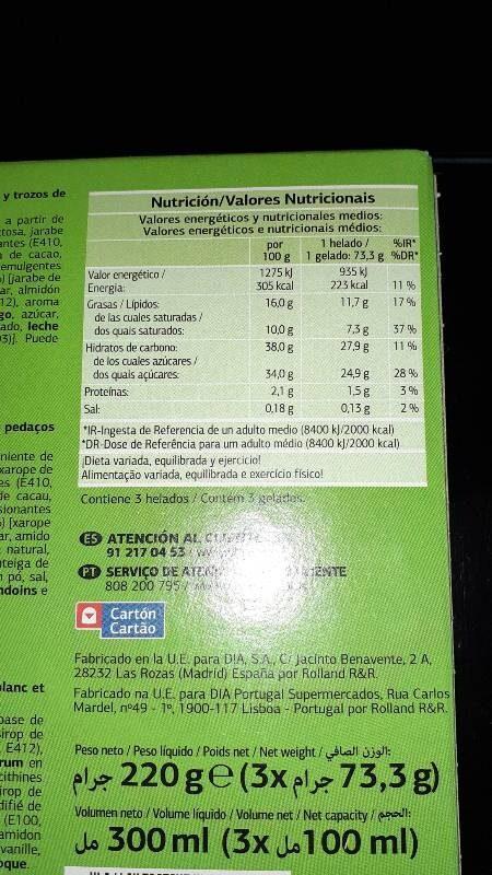 Chocolate blanco con galleta con helado de limón - Información nutricional - es