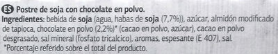 Postre de soja Chocolate - Ingredientes