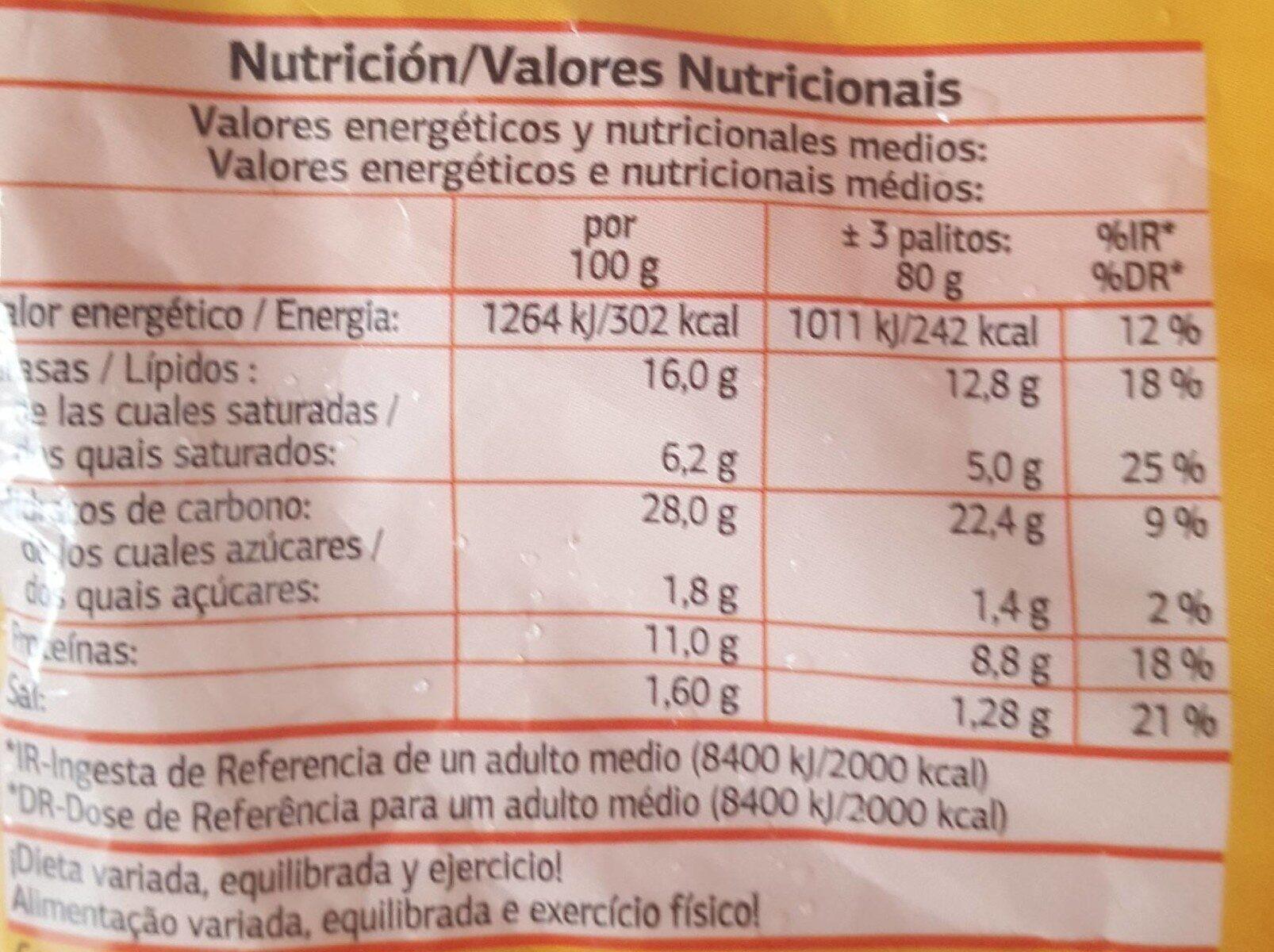 Palitos de Mozzarella - Valori nutrizionali - es