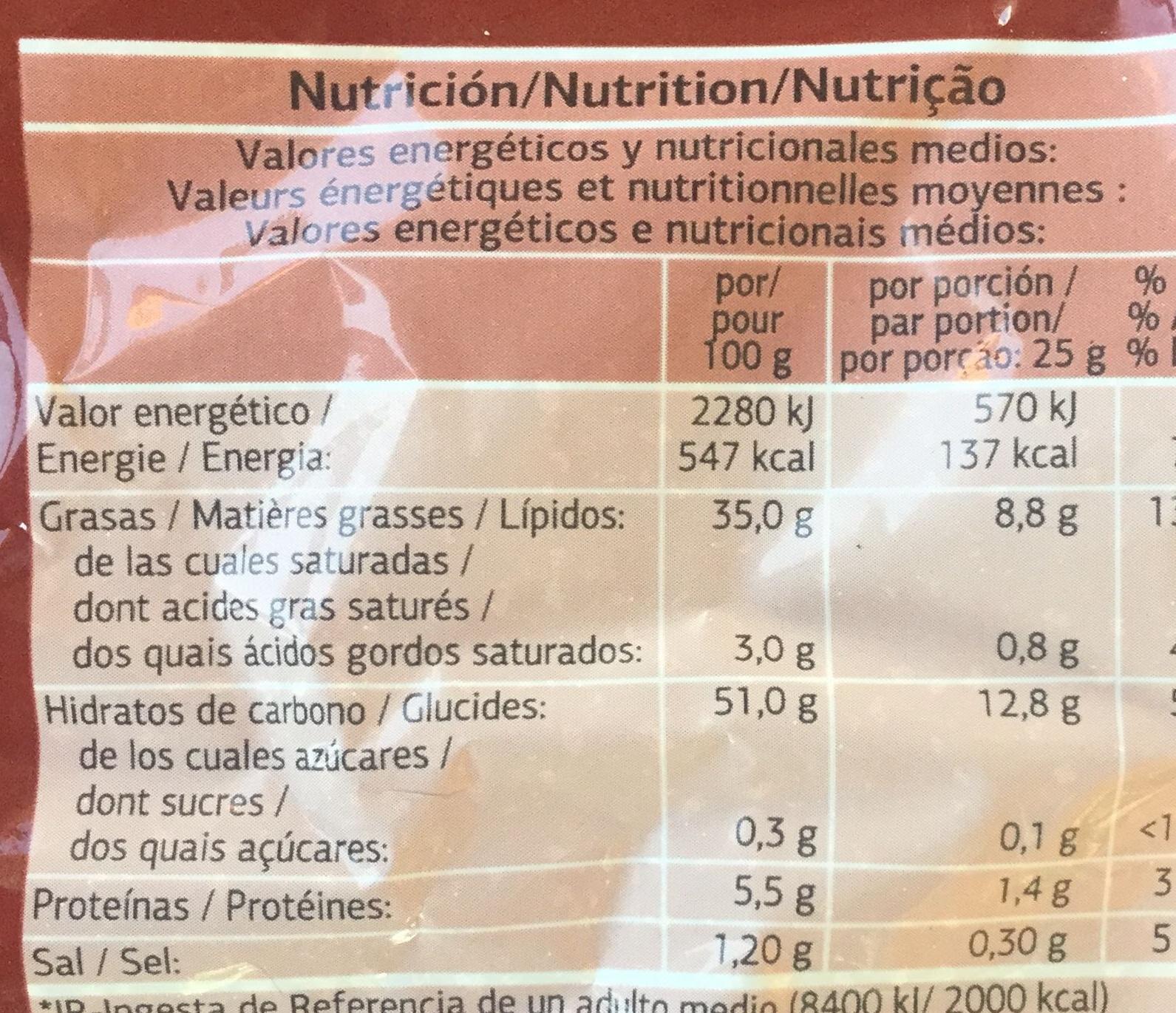 Patatas Fritas Onduladas - Informations nutritionnelles - fr
