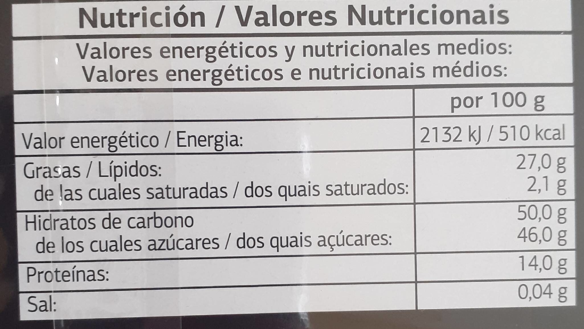Turrón de guirlache - Información nutricional - fr