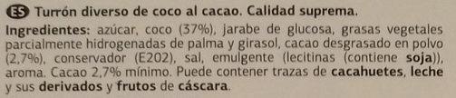 Turrón de coco al cacao - Ingredientes - es