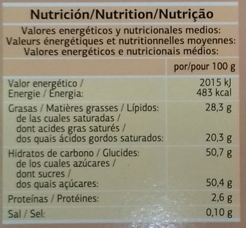 Turrón de coco al cacao - Información nutricional - es