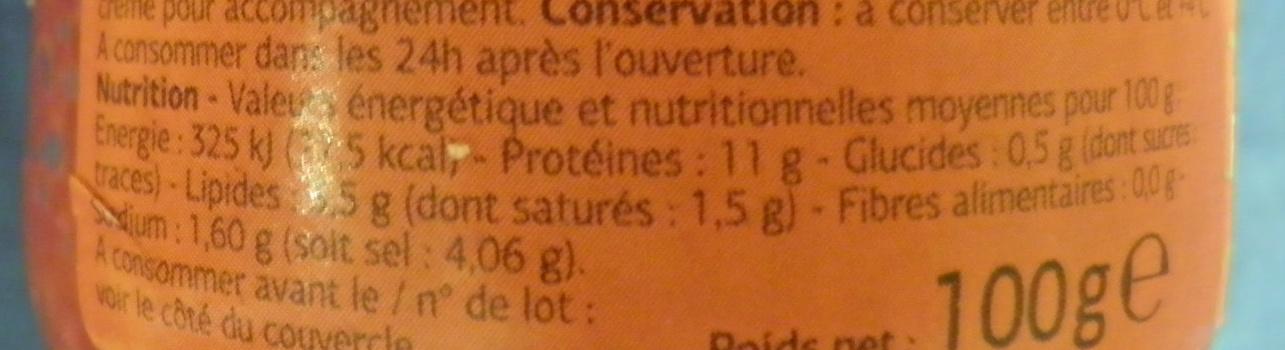 Oeufs de Lompe Rouge - Informations nutritionnelles