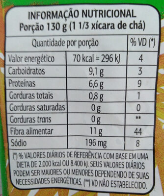 Ervilha congelada - Informação nutricional - pt