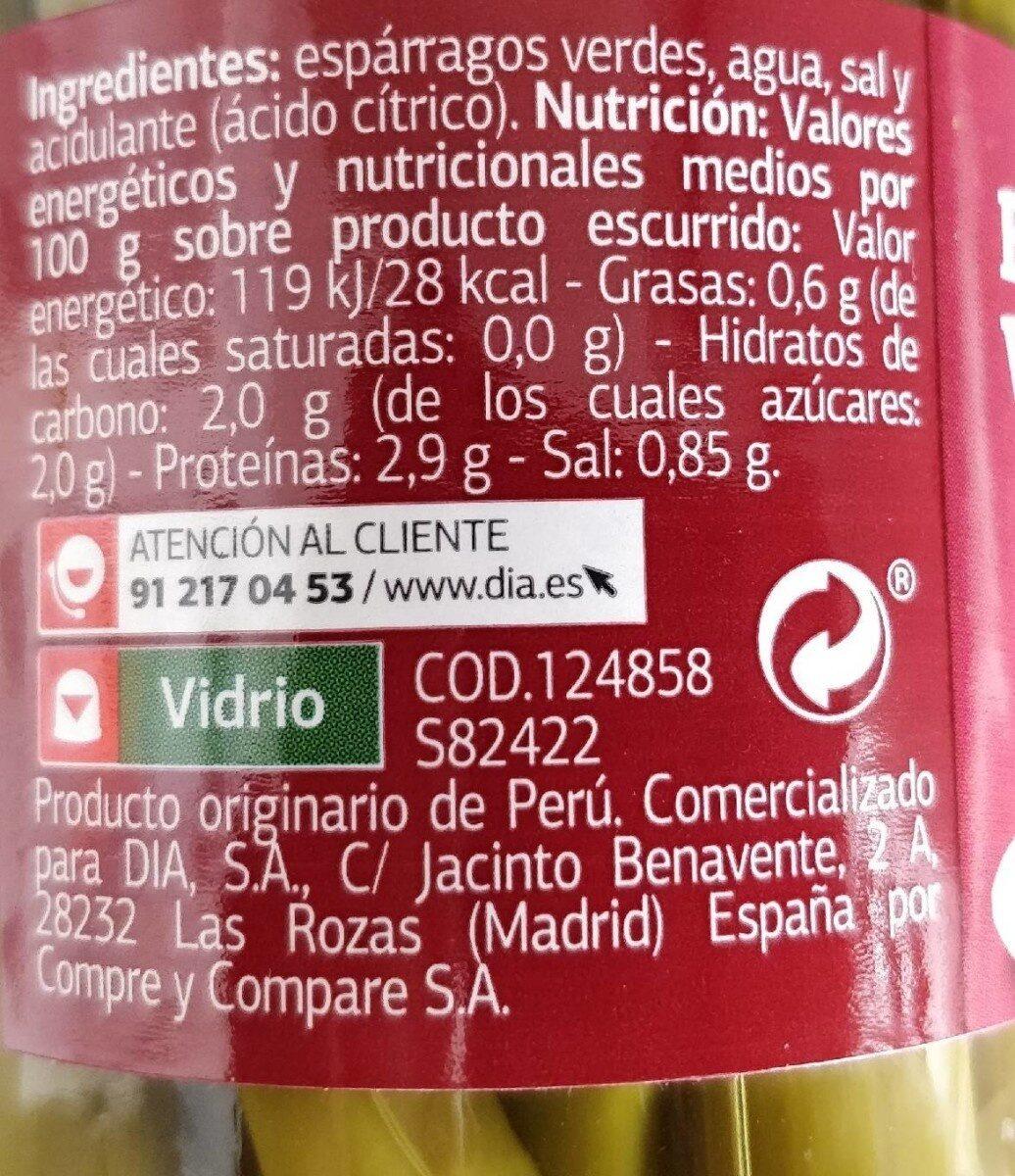 Espárragos Verdes - Informations nutritionnelles - es