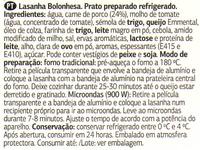 Lasanha Bolonhesa fresca - Ingredients - pt