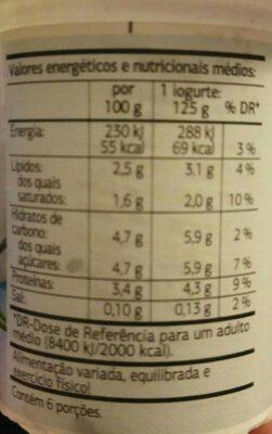 Yogur Natural - Información nutricional - es