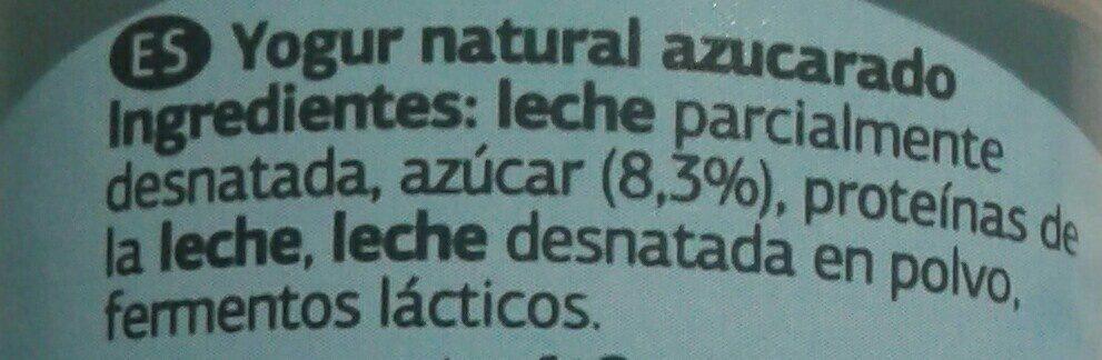 Yogur natural azucarado - Ingredienti - es