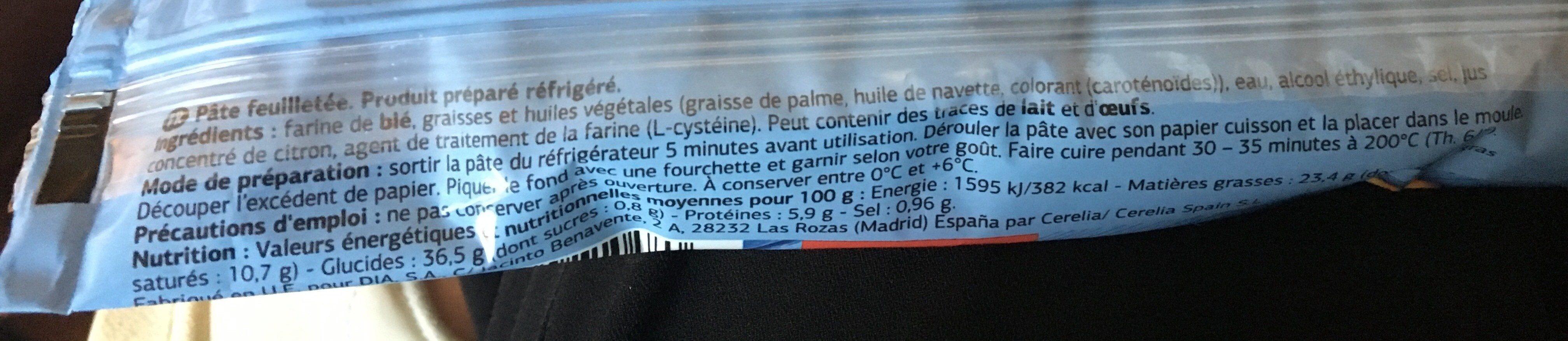 Masa de hojaldre - Ingredienti - fr