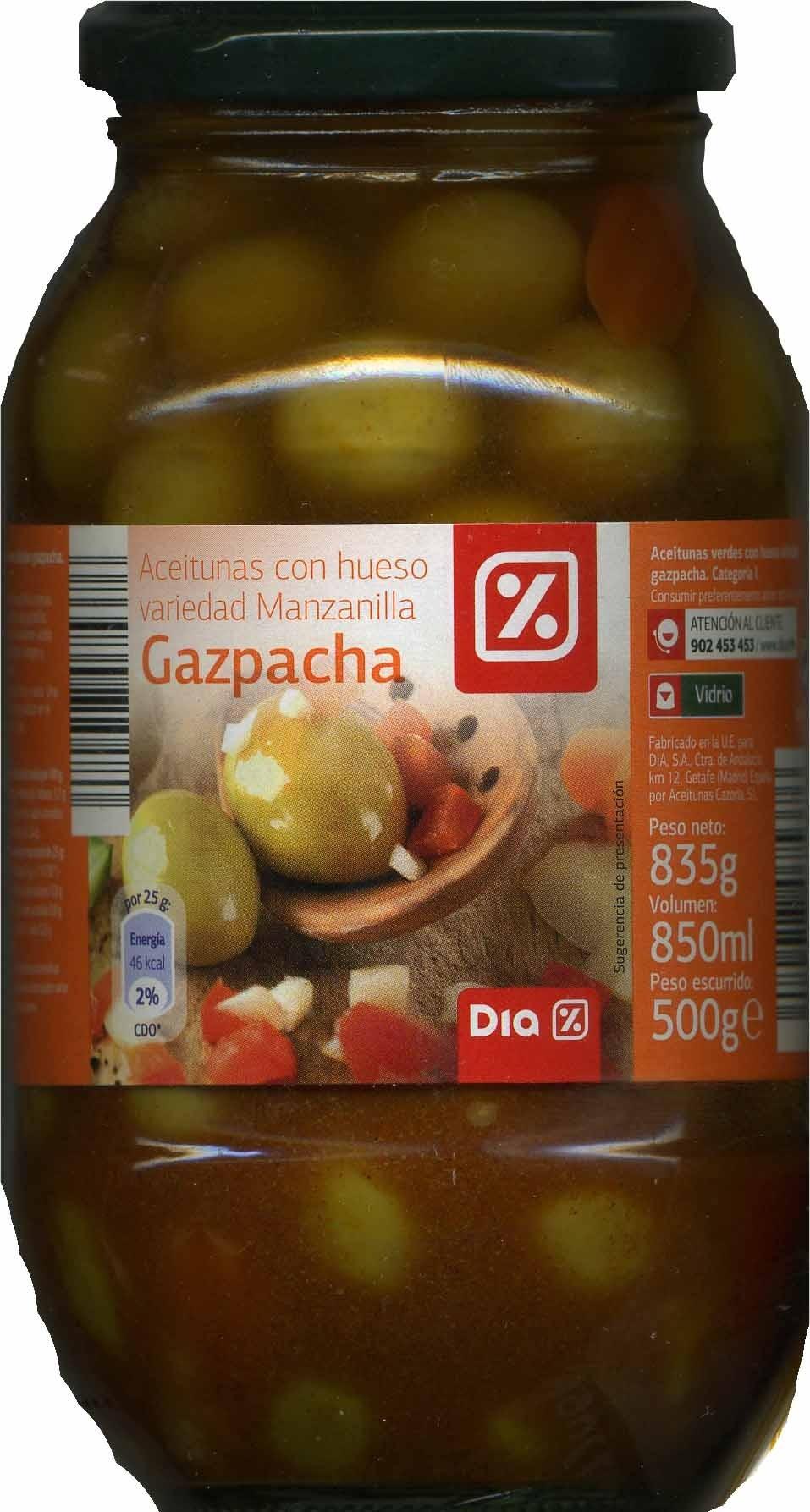 """Aceitunas verdes partidas aliñadas a la gazpacha """"Dia"""" Variedad Manzanilla - Producte - es"""
