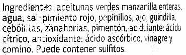 """Aceitunas verdes partidas aliñadas a la gazpacha """"Dia"""" Variedad Manzanilla - Ingredients - es"""
