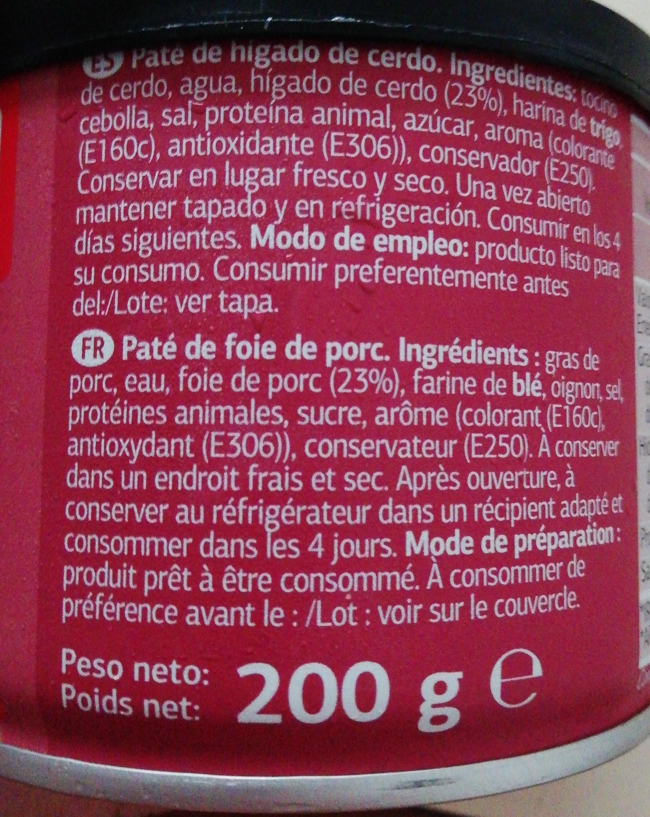 Paté de Hígado de Cerdo - Ingredientes - es