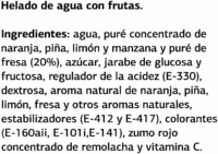Sorbete Sabor Frutas - Ingredients