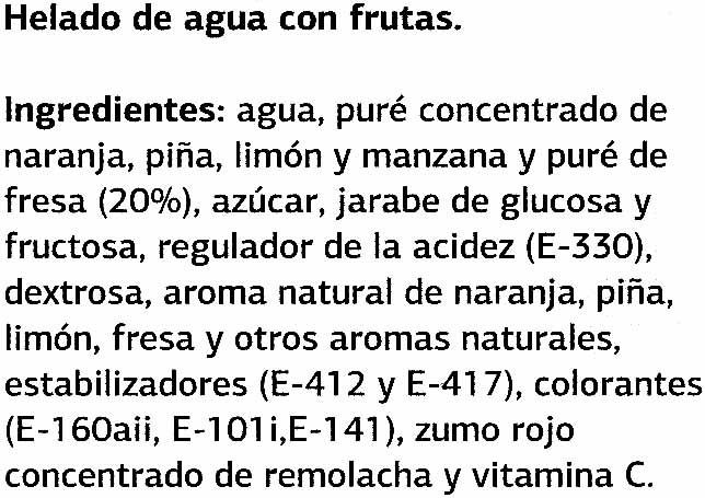 Sorbete Sabor Frutas - Ingredients - es