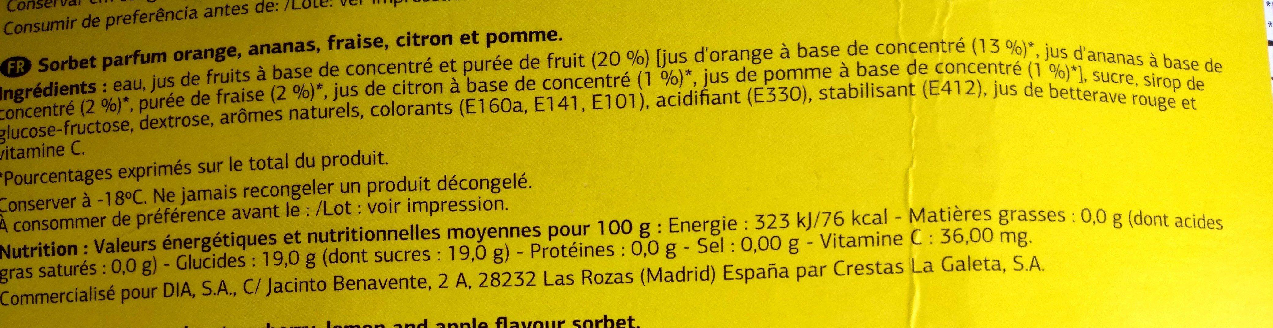 Sorbete Sabor Frutas - Ingrédients - fr