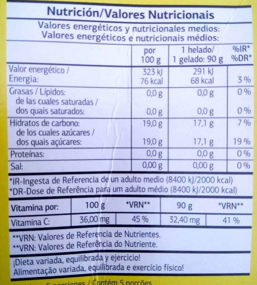 Sorbete Sabor Frutas - Nutrition facts - es