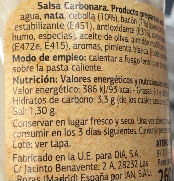 Salsa Carbonara Especial Pastas - Valori nutrizionali - es