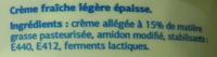 Crème Fraîche Légère (15 % MG) - Ingrediënten