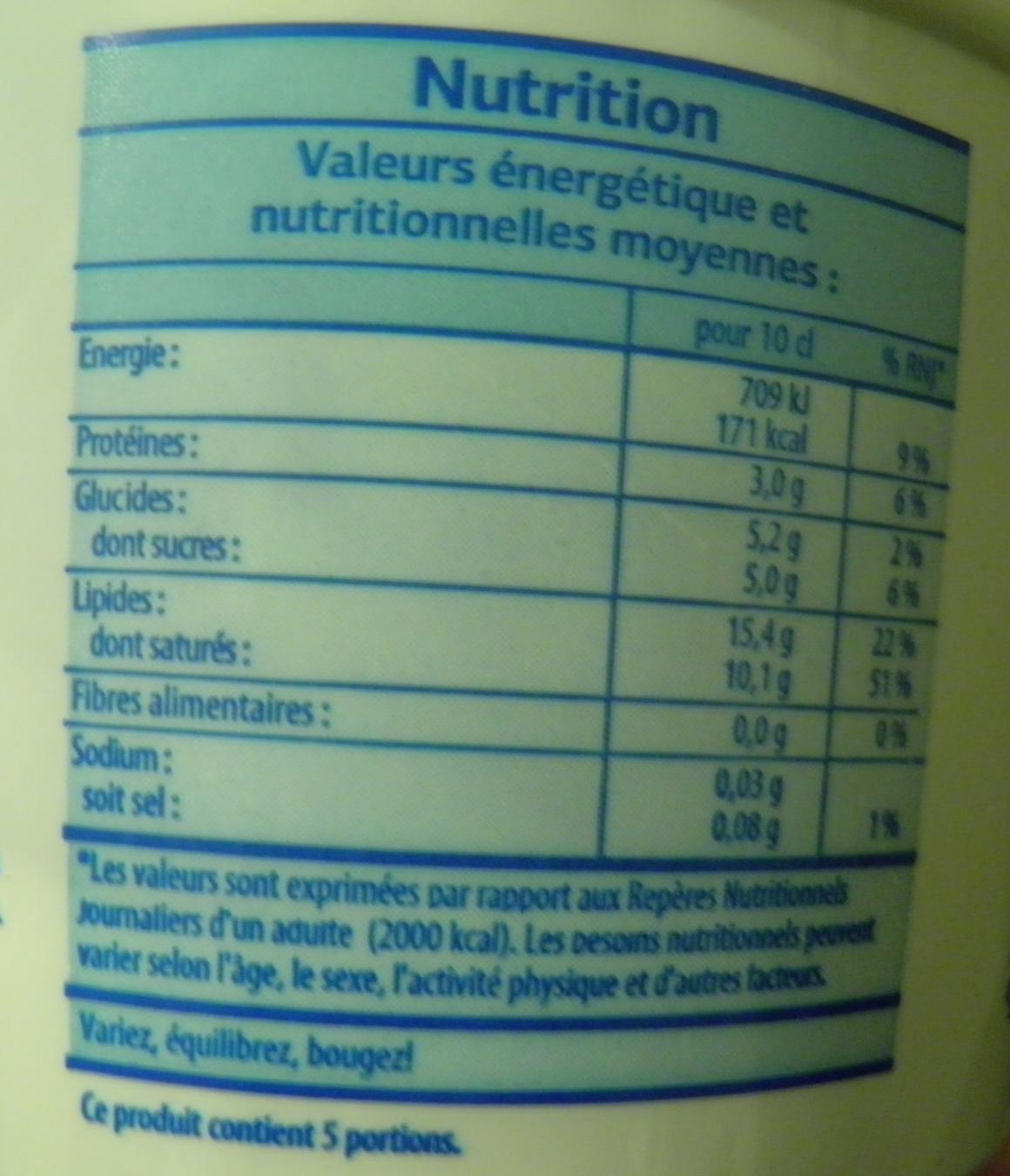 Crème Fraîche Légère (15 % MG) - Voedigswaarden