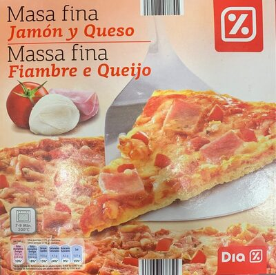 Pizza de jamón y queso (Masa fina)