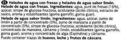 """Helados de hielo """"Dia"""" Fresa y limón - Ingrédients"""