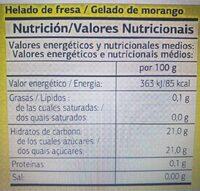 Helado de agua - Informació nutricional - es