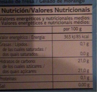 Helado de agua - Información nutricional - es