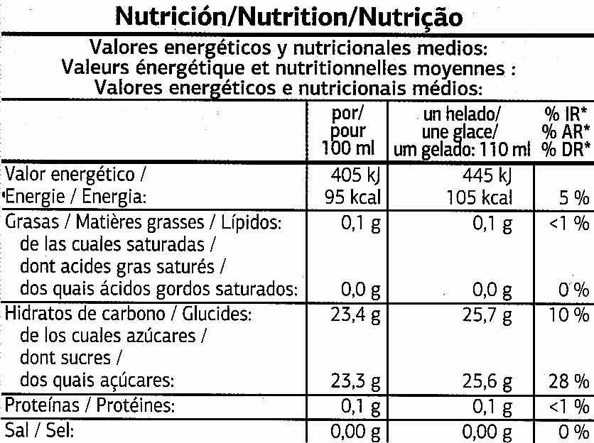 Helado de agua - Voedingswaarden