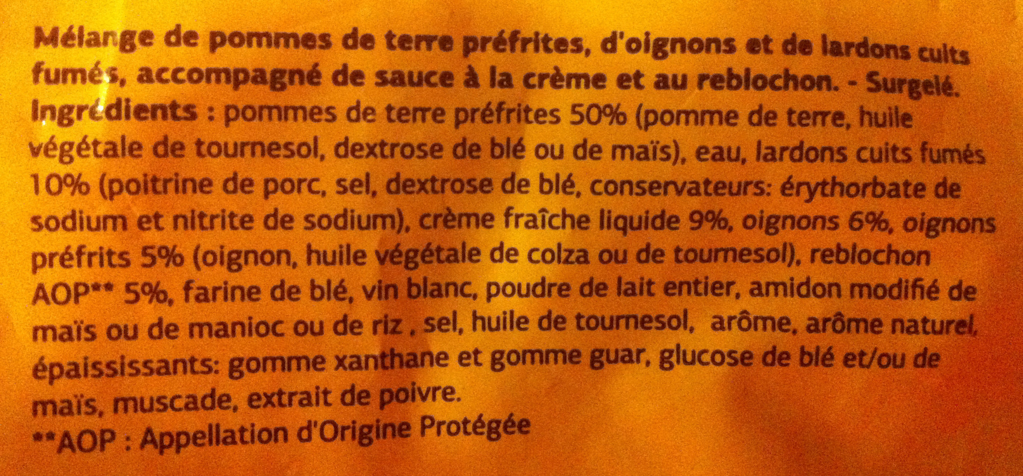 Tartiflette Surgelée - Ingrédients - fr