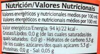 Get Move Naranja - Información nutricional - es