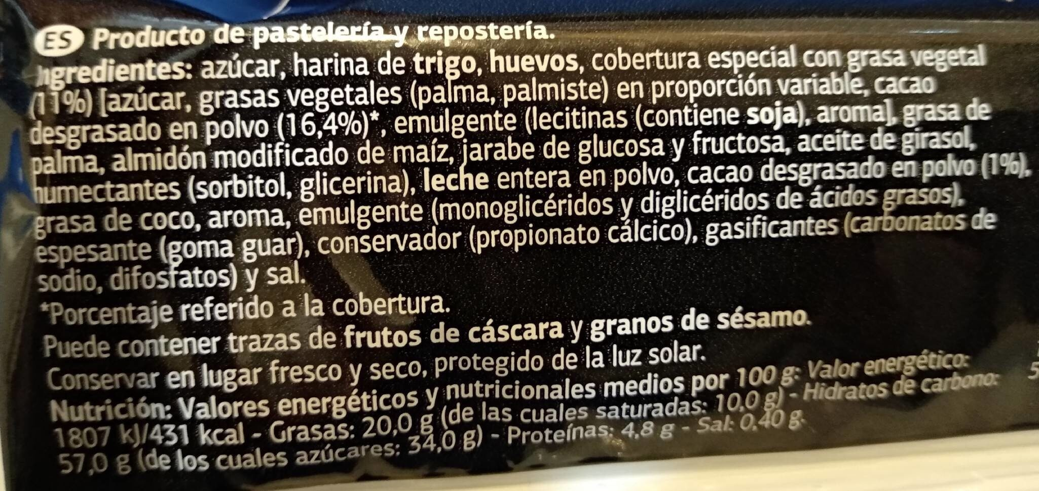 Pastel de marmol - Informació nutricional - es