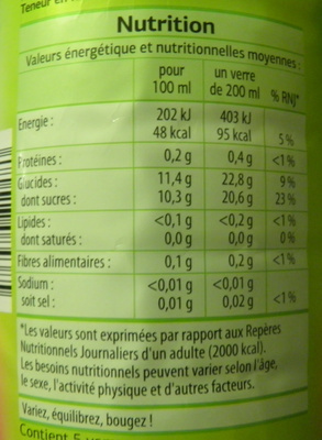 Nectar de fruits rouges Dia - Informations nutritionnelles - fr