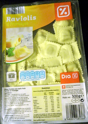 Raviolis 4 fromages - Produit