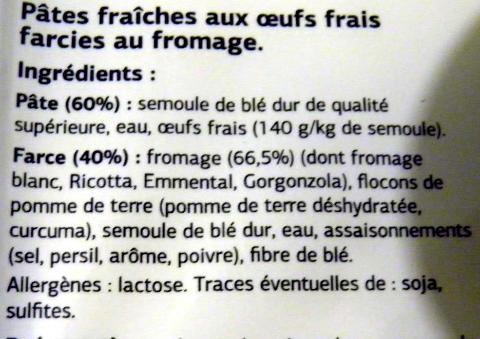 Raviolis 4 fromages - Ingrédients