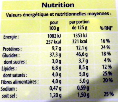 Raviolis 4 fromages - Informations nutritionnelles