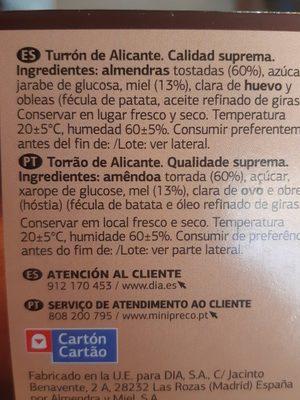 Turron de Alicante - Ingredientes - es