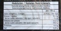 Turron de Alicante - Información nutricional - es