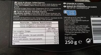 Turron de Alicante - Informació nutricional